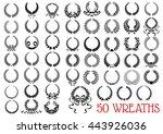 heraldic laurel wreaths icons... | Shutterstock .eps vector #443926036