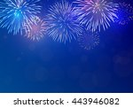 brightly colorful fireworks on... | Shutterstock .eps vector #443946082