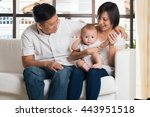 happy asian family playing with ... | Shutterstock . vector #443951518