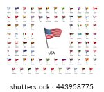 set of flags on a pole with... | Shutterstock .eps vector #443958775