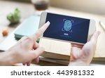 fingerprint scan biometrics...   Shutterstock . vector #443981332