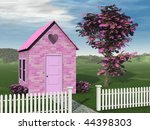 Pink Brick Cottage With Pink...