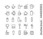 collection of outline drinks... | Shutterstock .eps vector #444005002