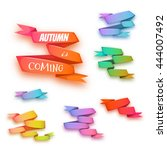 vector set of curved ribbon... | Shutterstock .eps vector #444007492