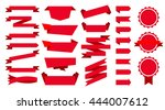 red flat ribbons set | Shutterstock .eps vector #444007612