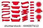 red flat ribbons set | Shutterstock .eps vector #444007612