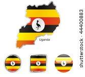 fully editable flag of uganda... | Shutterstock .eps vector #44400883