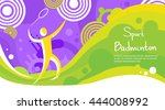 badminton player athlete sport...   Shutterstock .eps vector #444008992