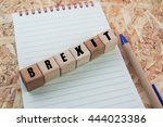Word Brexit On Wood Cube...