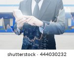 double exposure of businessman... | Shutterstock . vector #444030232