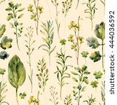 Watercolor Meadow Weeds And...