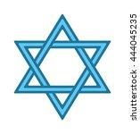 shalom hebrew blue jew star of... | Shutterstock .eps vector #444045235