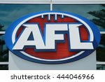 Small photo of MELBOURNE, AUSTRALIA - JANUARY 31, 2016: Australian Football League logo at Etihad Stadium in the Docklands, Melbourne. AFL is the professional competition in the sport of Australian rules football