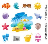 sea travel icon set in blue... | Shutterstock .eps vector #444069262