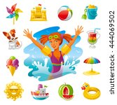 sea beach travel icon set with... | Shutterstock .eps vector #444069502