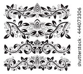 Design ornamental elements. Vintage headline decorations set. Floral tattoo in baroque style.