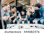 group of young multiethnic... | Shutterstock . vector #444082576