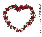 bouquet of roses in a heart... | Shutterstock .eps vector #444088966