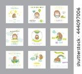 baby shower or arrival card.... | Shutterstock .eps vector #444097006