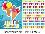 hello summer ice cream | Shutterstock .eps vector #444112582