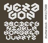 hexagon alphabet made of... | Shutterstock .eps vector #444117088