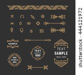 set of line art decorative... | Shutterstock .eps vector #444121972