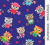 cute seamless pattern with... | Shutterstock .eps vector #444132622