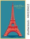 vintage poster of eiffel tower... | Shutterstock .eps vector #444133612