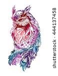 artistic owl with dreamcatcher. ... | Shutterstock .eps vector #444137458