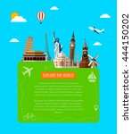 travel background with famous...   Shutterstock .eps vector #444150202