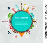 travel composition with famous...   Shutterstock .eps vector #444150622