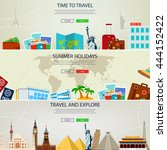 three travel and tourism...   Shutterstock .eps vector #444152422