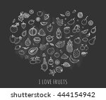 hand drawn doodle tropical... | Shutterstock .eps vector #444154942