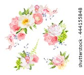 bright birthday bouquets of... | Shutterstock .eps vector #444155848