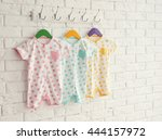 colorful set of baby romper on... | Shutterstock . vector #444157972