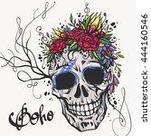 human skull with flower wreath... | Shutterstock .eps vector #444160546