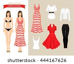 paper doll with clothes for... | Shutterstock .eps vector #444167626