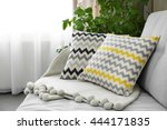 pillows on sofa in room | Shutterstock . vector #444171835