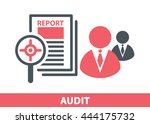 target icon in magnifier on a... | Shutterstock .eps vector #444175732