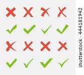 red cross and green tick vector ... | Shutterstock .eps vector #444181942