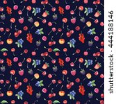 seamless pattern with raspberry ... | Shutterstock . vector #444188146