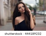 fashion style portrait of young ... | Shutterstock . vector #444189232