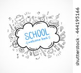 school vector icons. hand drawn ... | Shutterstock .eps vector #444195166