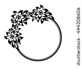 black round frame with flowers... | Shutterstock .eps vector #444208606