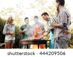 friends camping and having a... | Shutterstock . vector #444209506