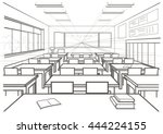 linear architectural sketch... | Shutterstock .eps vector #444224155