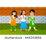 cute girls singing  dancing and ... | Shutterstock .eps vector #444243856