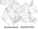 coloring page for adult  ... | Shutterstock .eps vector #444247942