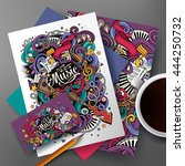 cartoon cute colorful vector... | Shutterstock .eps vector #444250732