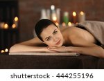 beautiful young girl in spa... | Shutterstock . vector #444255196